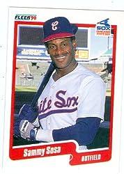 Sammy Sosa baseball card 1990 Fleer #548 (Chicago White Sox) rookie card