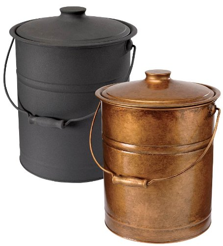Double Bottom Galvanized Steel Ash Bucket With Handle In Black Review