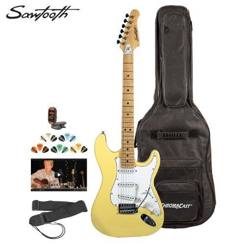 Sawtooth Citron Vanilla Cream Electric Guitar W/ White Pickguard - Includes: Accessories, Gig Bag & Online Lesson