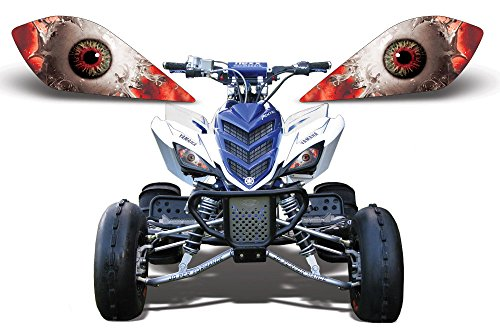 AMR Racing ATV Headlight Eye Graphic Decal Cover for Yamaha Raptor 700/250/350 - Spliced (700 Raptor Headlights compare prices)
