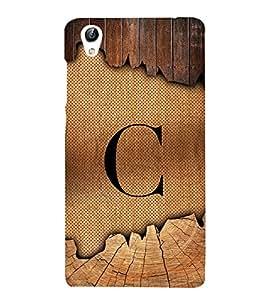 Initial C Wooden Texture 3D Hard Polycarbonate Designer Back Case Cover for VIVO Y51L :: Y 51L