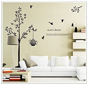OneHouse Tall Black Tree with Birds and Birdcage Love's Secret Quote Wall Decal Sticker Decor from OneHouse