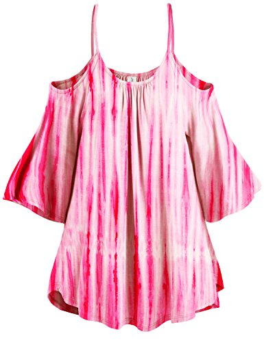 3/4 Sleeve Vertical Stripe Tie Dye Cold Shoulder Tunic Tops