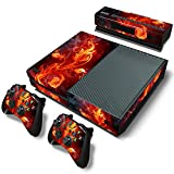 SKINOWN Skin Sticker for Xbox One Console and 2 Controller with 1 Kinect Skins (Red Fire) (Color: Red Fire)