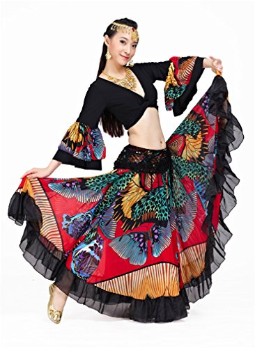 Dreamspell Hot Red Gypsy Big Flower Skirt Suit Belly Dance Beautiful Skirt
