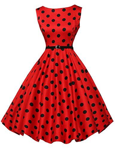 Polka Dot Red 1950's Vintage Wiggle Dresses A-Line Size XL F-7