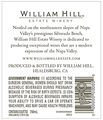 2014 William Hill Estate Winery Napa Valley Chardonnay 750mL, Official Wine of the PGA TOUR from William Hill Estate Winery