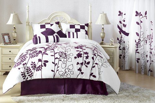 Purple and White Bedroom Comforter Set
