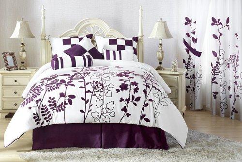 Purple black and white comforter - Purple black and white bedroom ...