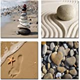 Wieco Art - Romantic Beach Theme 4 Panels Modern Giclee Artwork Sea Beach Ocean Canvas Prints Contemporary Abstract Seascape Pictures to Photo Paintings on Canvas Wall Art for Hot Sale Home Decorations Wall Decor, 12x12inchx4pcs, P4R1x1-02