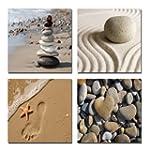 Wieco Art - Romantic Beach Theme 4 Pa...