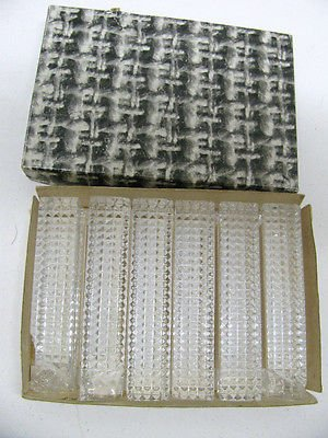 Complete Stunning Set Of 6 Vintage Crystal Cut Glass Knife Rests In Original Box