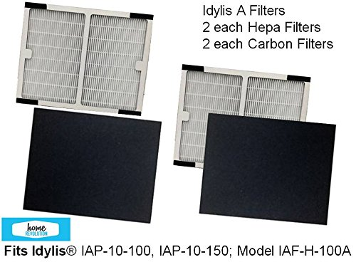 2-PACK Idylis A HEPA Air Purifier Filter PLUS 2-PACK CARBON Filters fo IAP-10-100, IAP-10-150; Model # IAF-H-100A by Home Revolution (Air Purifier Filter Idylis compare prices)