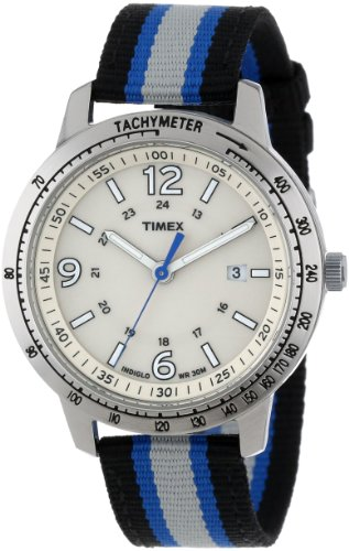Timex Men's T2N754 Weekender Sport Black, Gray & Blue Nylon Strap Watch