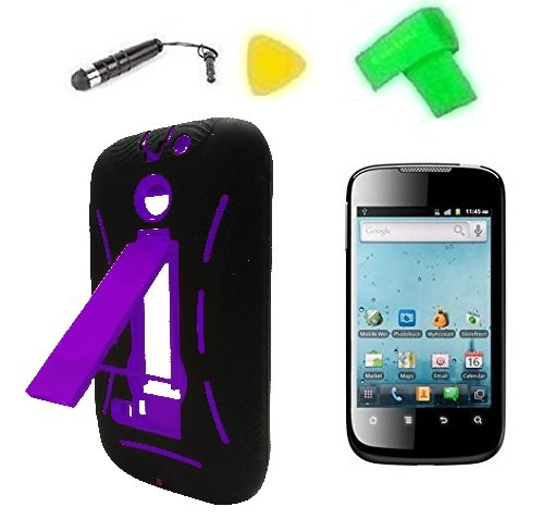 Heavy Duty Hybrid Phone Cover Case Cell Phone Accessory + Extreme Band + Stylus Pen + Lcd Screen Protector + Yellow Pry Tool For Net10 Straight Talk Huawei Ascend Ii M865C / Huawei Summit U8651S / Huawei Astro C8650 / Huawei T-Mobile Prism 1 U8651 (Black/