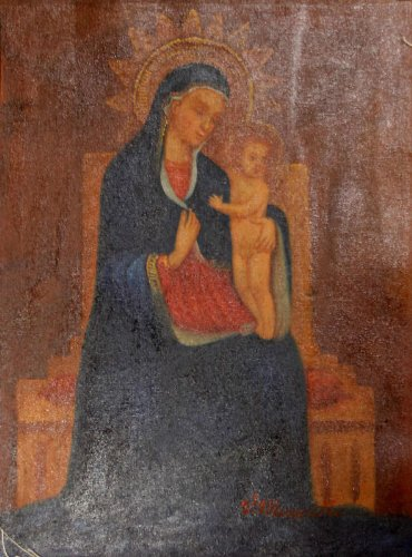 Madonna & Child - Virgin Mary & Jesus Painting Hand Painted Oil on Cloth Canvas