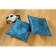Shahenaz Home Shop Amodini Floral Patch Poly Dupion Cushion Cover - Turquoise