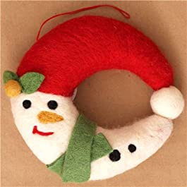 Ghirlanda natalizia per porta in feltro kawaii pupazzo neve
