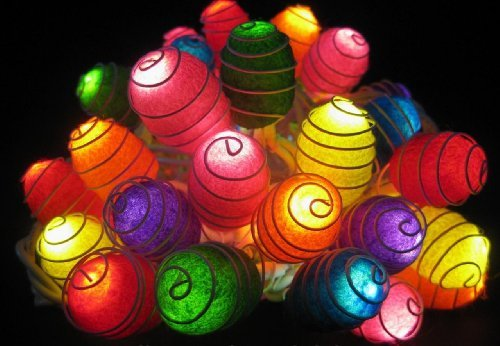 2 Sets Of Lighting String 35 Natural Silk Cocoon Lights Set Lamp Mixed Colors Home Decoration, Living Room, Yard Garden, Patio Both Indoor And Outdoor Of Birthday, Christmas, New Year, Graduation, Valentine, Wedding Anniversary, Ceremony Party front-354003