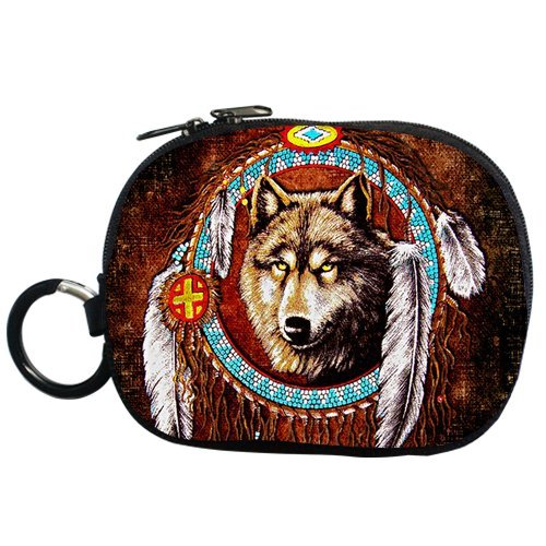 Generic Personalized Retro Style Dreamcatcher And Wolf For Coin Purse (Two Side) front-596730