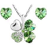Le Premium® Schmuck-Set vier Blättern Klee Halskette+ohrring Gestüt Herz geformt Swarovski peridot grüne Kristalle