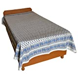 Block Printed Floral Bagru Print Design Cotton Flat Single Bed Sheet - B00GSSOO2I