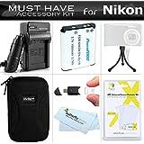 Must Have Accessory Kit For Nikon Coolpix S3700, S2800, S2900, S33, S7000, S6900, S4300, S5200, S6500, S3200, S4200 S6800, S3600 Digital Camera Includes Replacement EN-EL19 Battery + Charger + Case ++