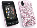 FLASH SUPERSTORE LG KP500 COOKIE DIAMANTE HARD BACK COVER DIAMANTE LIGHT PINK CLEAR