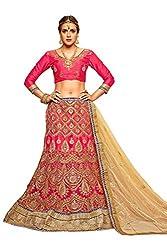 Manvaa Women Net Lehenga Choli(Pink_ASMMTZ7006A_Free Size)