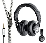 Zipbuds CHOICE Over-The-Ear Pro Studio Headphones with Tangle Free Zipper Cabling (Black)
