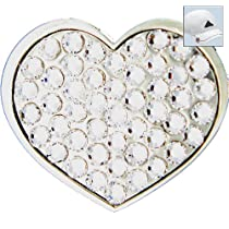 Bella Swarovski Crystal Golf Ball Marker & Hat Clip - Heart (Silver)