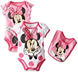Disney Baby Girls Newborn Minnie Mouse Adorable 3-Piece Bodysuit and Bib, Pink,3-6 Months