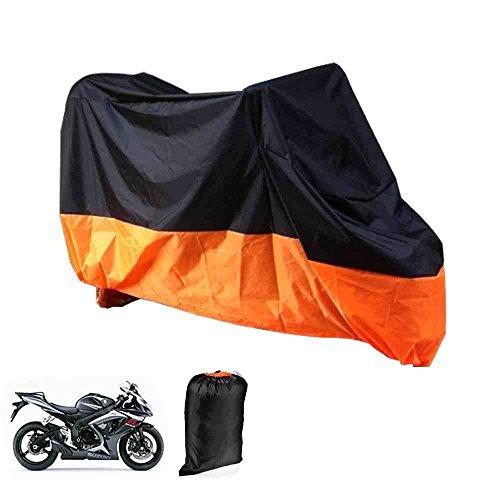 XL-Coperta-Telone-Per-Moto-Motocicletta-Per-Garage-or-Esterno-Piegabile-Con-Tasche-Telo-Color-Arancione-e-Nera-245-x-105-x-125-cm-versionx88-by-DELIAWINTERFEL