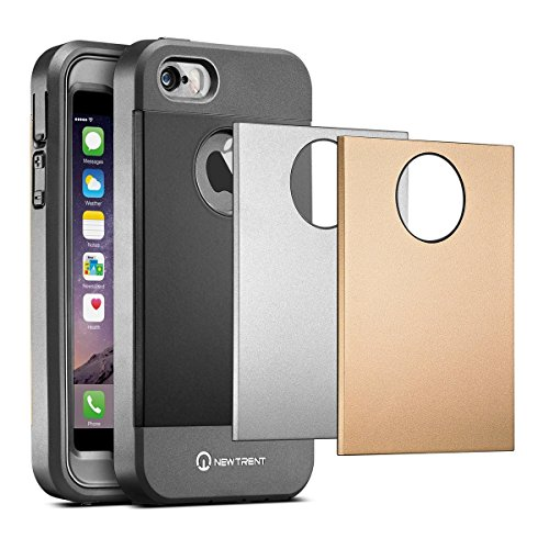 07. iPhone SE Case, iPhone 5s Case, New Trent Trentium Rugged Protective Durable iPhone 5 Case for the Apple iPhone 5s/5/SE w/ Screen Protector 3 Back Plates - Black Silver Gold
