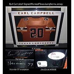 Earl Campbell Signed Framed Texas Longhorns Jersey JSA COA Heisman 77 Rare
