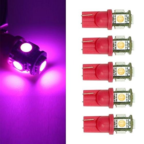 Partsam 5PCS Pink-purple 5-5050-SMD 194 LED bulbs for Cab Roof Running Marker Light Lamp (06 Gmc Sierra Cab Roof Lights compare prices)