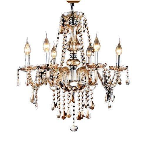 Ouku 6 Lights,European Crystal Chandelier In Cognac Color , Crystal & Glass Kronleuchter - Kristall - Zeitgenössisch/Traditionell-Klassisch/Vintage - Wohnzimmer/Schlafzimmer/Esszimmer/Studierzimmer/Büro/Eingangsraum/Korridor