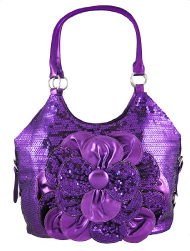 Metallic Purple Sequined Hobo Shoulder Bag  Flower