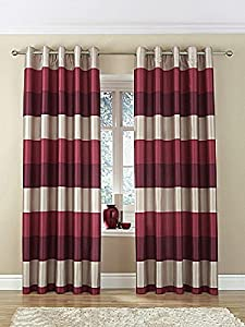 "Brazil Red Beige Cream Striped Faux Silk Lined Ring Top 90"" X 90"" Curtains #oir by PCJ SUPPLIES"
