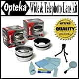 Opteka 0.45x Wide Angle & 2.2x Telephoto HD2 Pro Lens Set For Canon VIXIA HV30 HG10 & HV20 Digital Camcorders -