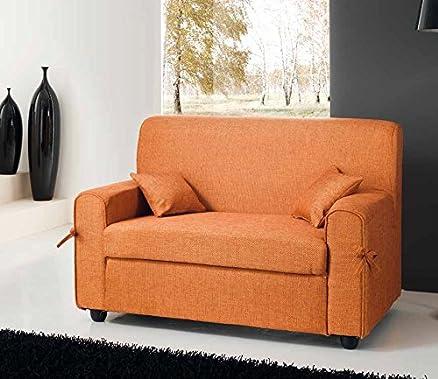 Divano mini divanetto in tessuto tinta unita (Arancio)