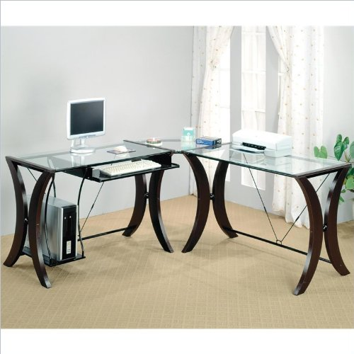 Coaster L-Shape Home Office Computer Desk, Cappuccino Finish Base, Glass Top