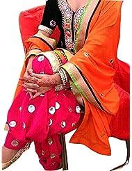 Sancom Women Cotton Salwar Suit Sets (Sesfsk28937 _Black _Free Size)