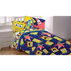 Spongebob Patrick Twin-Full Comforter Dark Blue Blanket
