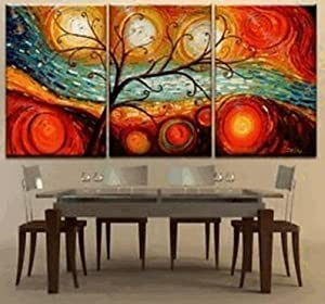 Sangu 100% Hand Painted Wood Framed 4-piece Hot Sale Modern Colorful Garden Leaves For Abstract Oil Painting Gift Canvas Wall Art for Home Decoration