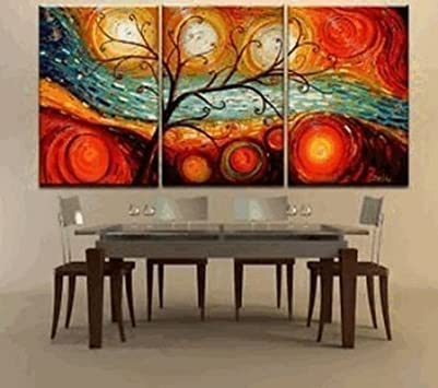 Simple Oil Paintings Colorful Tree Modern Abstract Hand Painted Oil Painting on Canvas Wall