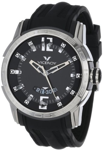 Viceroy Homme 42117-55 Xtrem Round Stainless Steel Black Rubber Strap Date Montre