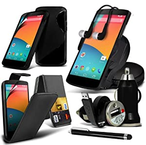 8-IN-1 Superior Accessory Pack LG Google Nexus 5 Premium PU 3 Credit / Debit Card Slots Leather flip Case Skin Cover + LCD Screen Protector Guard + S Line Wave Gel Case + 360 Rotating Car Holder + 3.5 MM Earbud Earphone + Micro USB Flat Cable + Bullet Car Charger + Large Touchscreen Stylus Pen - Various Colours ( Black ) By Fone-case