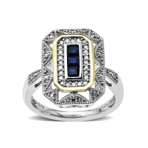 S&G Sterling Silver and 14k Yellow Gold Blue Sapphire and Diamond Art Deco Style Ring (0.12cttw, I-J Color, I3 Clarity), Size 9