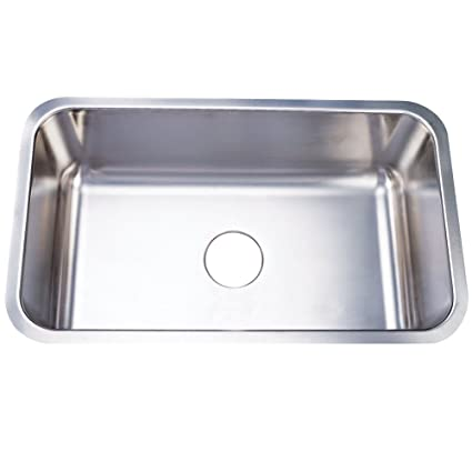 Kingston Brass KU311810BN Single Bowl Stainless Steel Undermount Kitchen Sink, Brushed Nickel